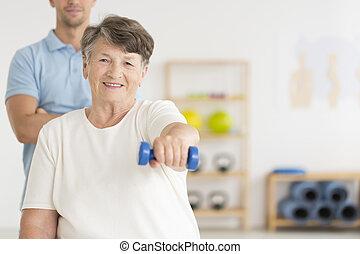 Woman doing isometric exercises