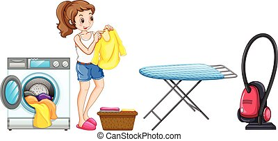 Woman doing laundry at home illustration