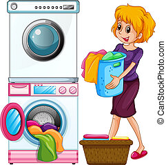 Woman doing laundry on white background