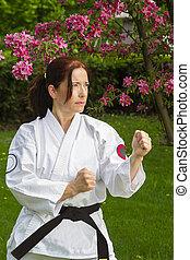 woman doing martial art
