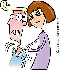 Illustration of Girl doing massage to her boyfriend