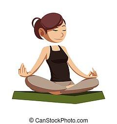 woman doing meditation illustration design