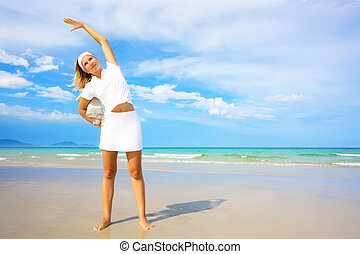 Woman doing morning exercises. Healthy lifestyle