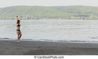 Woman Doing on beach - Sexy girl doing Cartwheel on beach