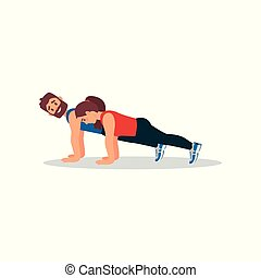 Woman doing plank press exercise with her personal trainer. Physical activity. Colorful flat vector design