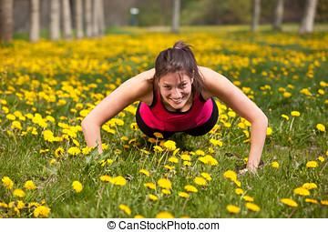 Woman doing pushups
