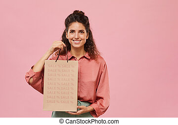 Woman doing shopping on sale