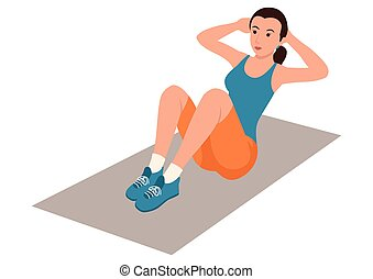 Woman doing sit up - Simple flat cartoon illustration of a ...