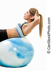 Woman doing sit ups - Attractive blond woman in great ...
