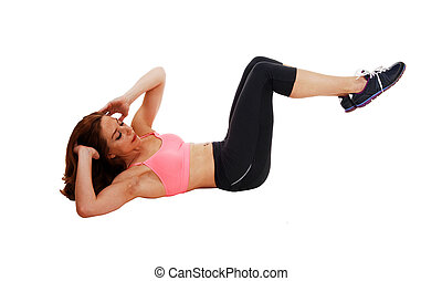 Woman doing stomach crunch.