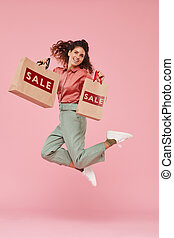 Woman doing successful shopping