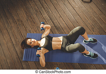 Woman doing workout at home