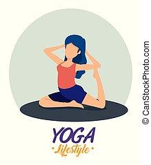 woman doing yoga balance posture