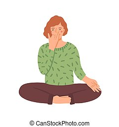 Woman doing yoga flat vector illustration. Young girl in ...