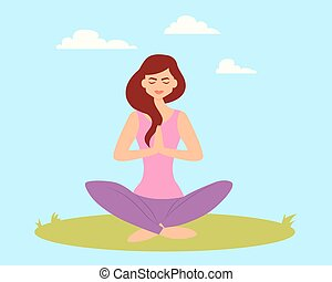 Woman doing yoga in the park