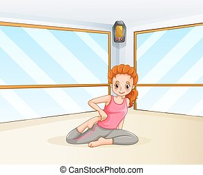 Woman doing yoga in the room