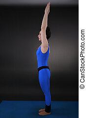 Inhalation stretch arms up