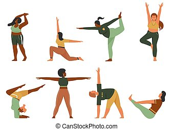 Woman doing yoga pose set, cartoon happy plus size female yogist character in sportswear