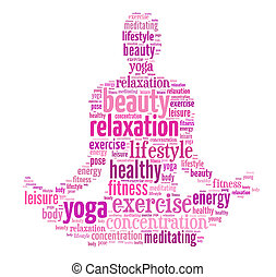 woman doing yoga pose - text/word cloud/word collage...