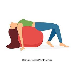 Woman Doing Yoga with a Ball