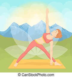 Woman doing yoga. - Woman doing yoga in the montains....