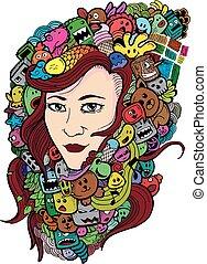 Woman doodle art illustration