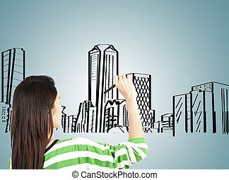 woman draw building and cityscape