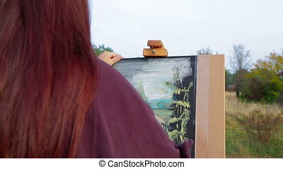 Woman Drawing A Picture At Plein Air