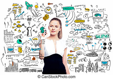 Woman drawing business sketch