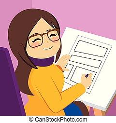 Woman Drawing Comic
