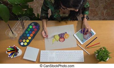 Woman drawing pastels watercolor tablet art still life creativity