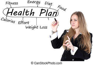 Woman drawing plan of Health