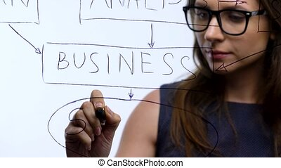 Woman draws various schemes, calculating prospects for...