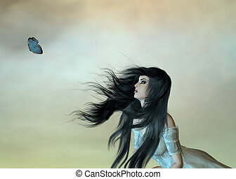 Woman Dreaming - Woman looking at butterfly on opaque...