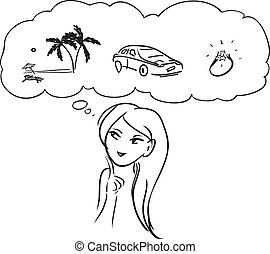 "Woman dreams - Vector image. Theme ""What does woman want?"""