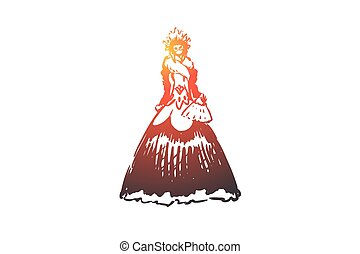 Woman, dress, carnival, costume, party concept. Hand drawn woman in long old style dress concept sketch. Isolated vector illustration.