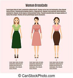 Woman Dress Code infographic on pink