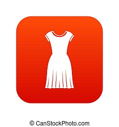 Woman dress icon digital red
