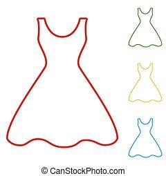 Woman dress. Set of line icons