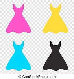 Woman dress sign. CMYK icons on transparent background. Cyan, ma