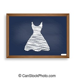 Woman dress sign. White chalk icon on blue school board with sha
