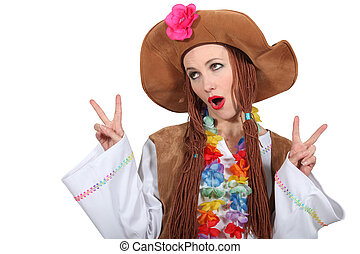 Woman dressed as hippie