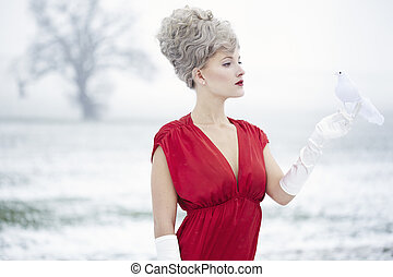 Woman dressed as Mrs claus