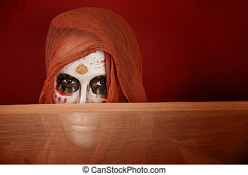 Woman dressed for Day of the Dead