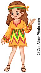 Woman dressed in hippie clothes