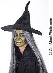 Woman dressed up as a witch