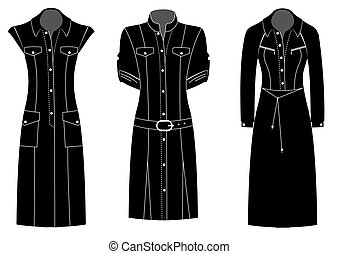Woman dresses.Vector black silhouettes of clothes isolated