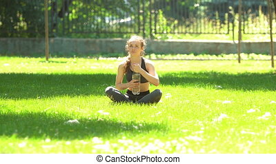 Woman drink water after sport