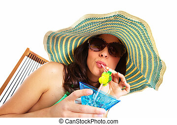 Woman drinking a cocktail.