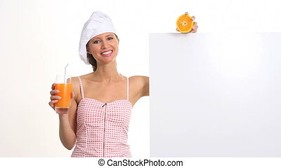 woman drinking a orange juice